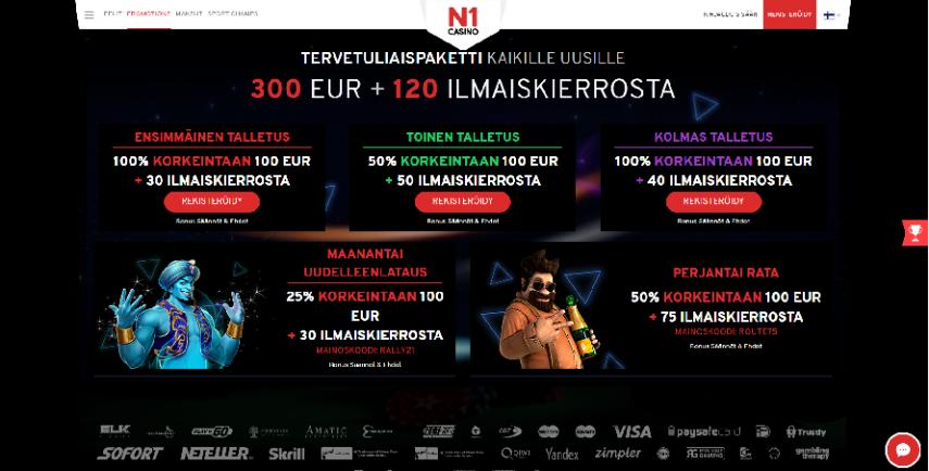 n1 casino tarjous