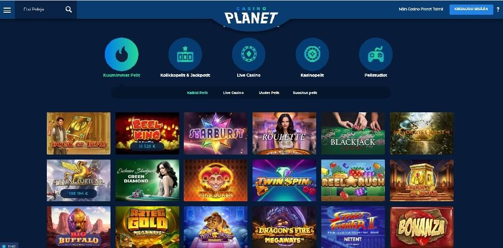casino-planet-pelivalikoima