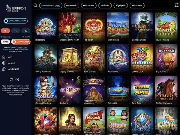 griffon-casino-pelivalikoima